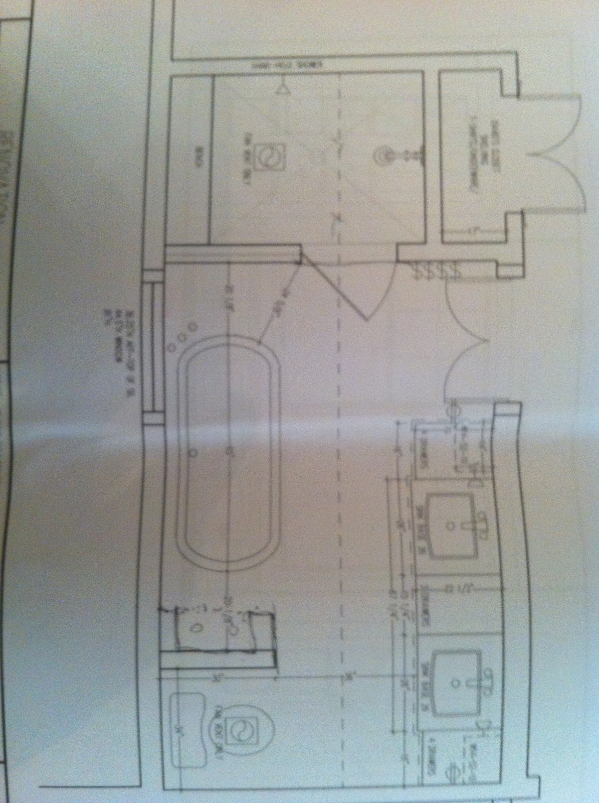 Long Narrow Master Bathroom Separate Tub and Shower Plan