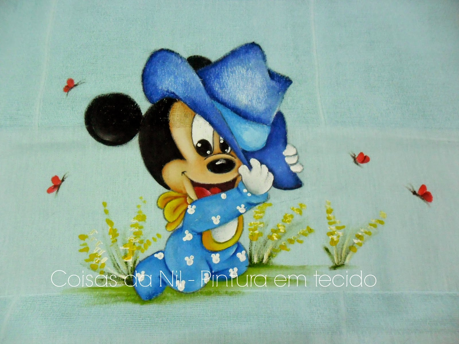fralda pintada com mickey baby com chapeu azul