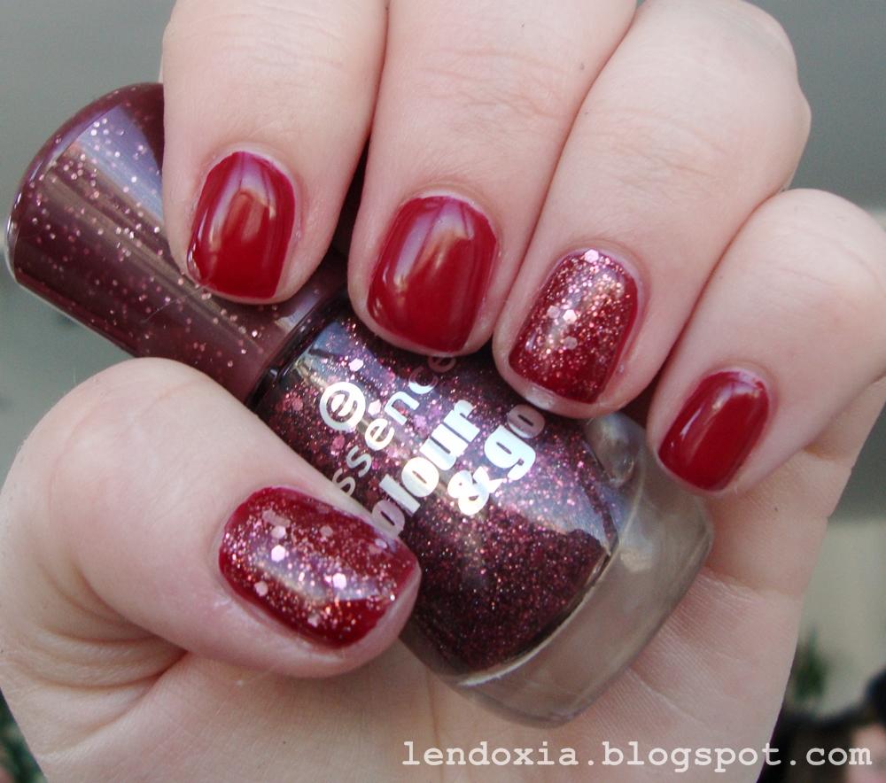 essence gel nails manikura crvena sa glitterom