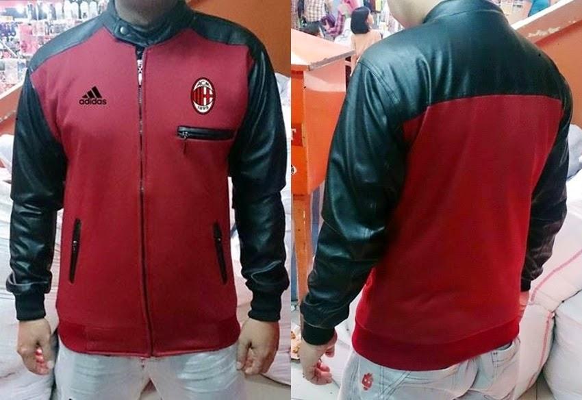 Jaket Bola Sporty Bahan Flecee Kombinasi Kulit Ac Milan Merah Maroon-Black