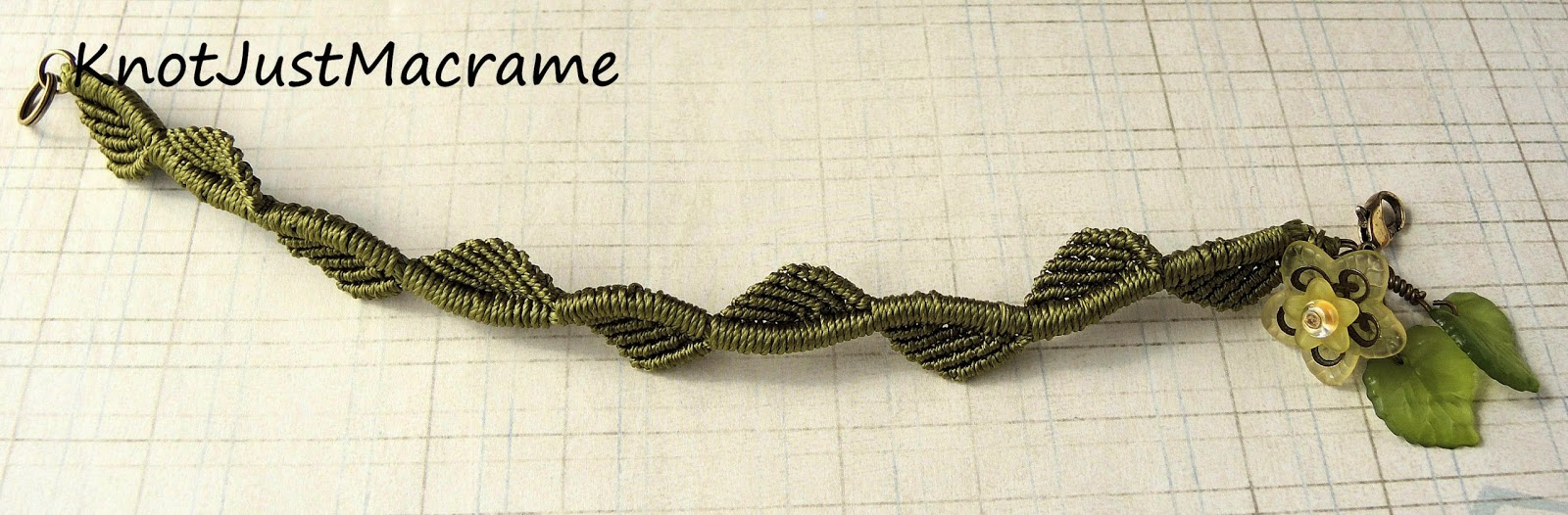 Micro macrame leaves and vine by Sherri Stokey.