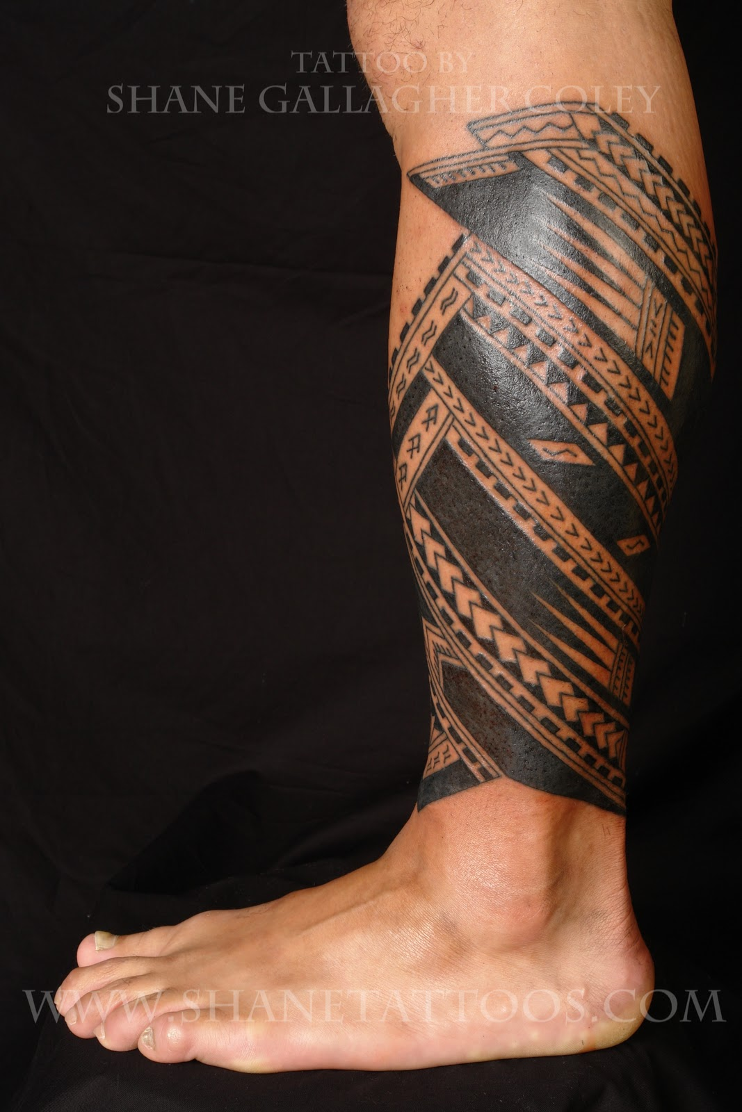 Maori Polynesian Calf Tattoo Designs