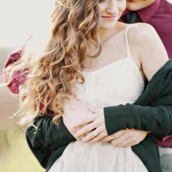Blonde Couple Love Hugging Image