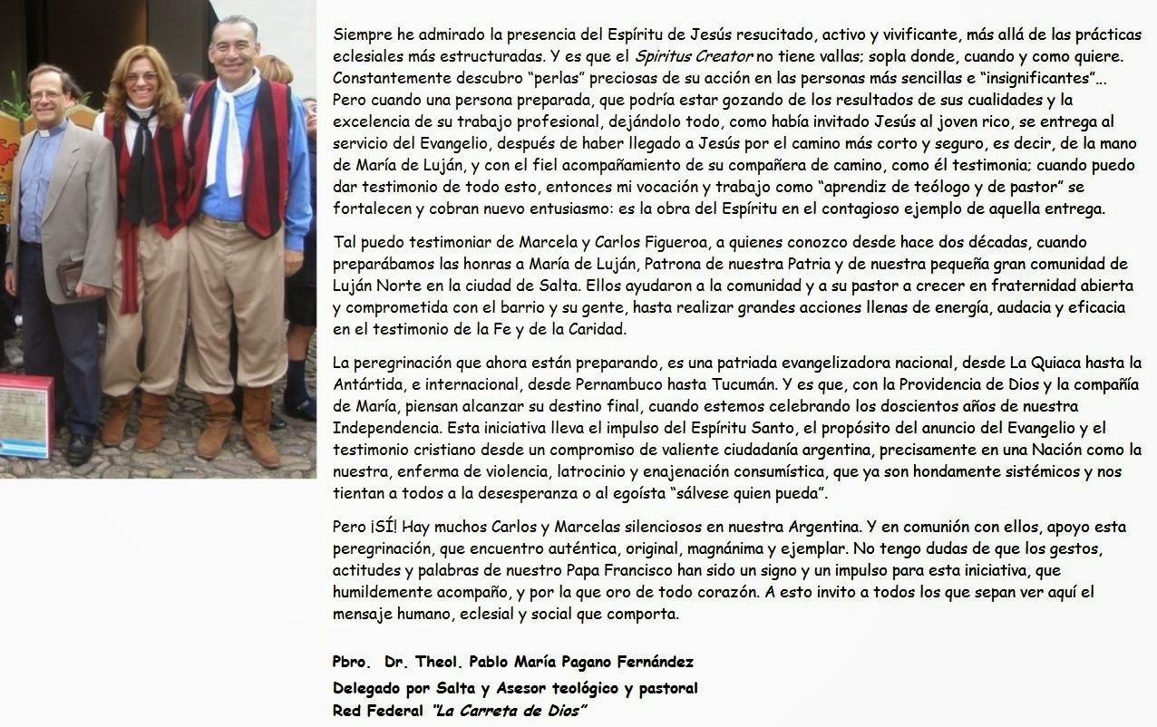 TESTIMONIO Y ADHESIÓN PADRE PABLO PAGANO FERNÁNDEZ - MAYO 2014