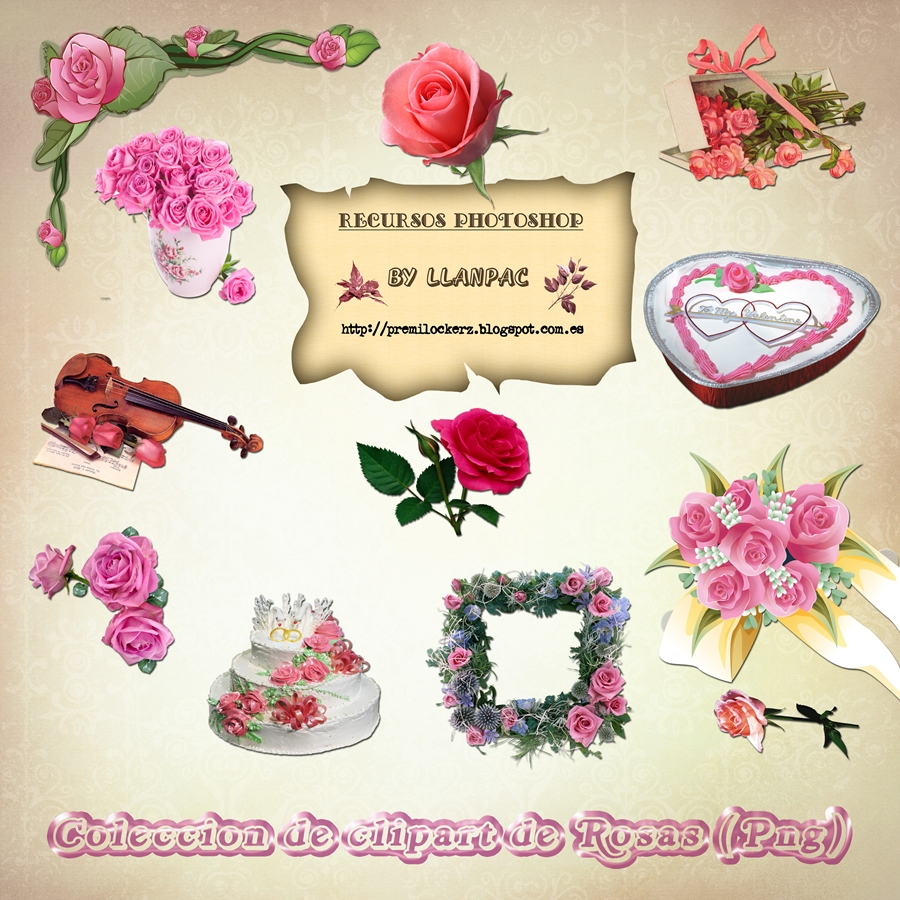 Llanpac: Coleccion de clipart de rosas para fotomontajes (Png