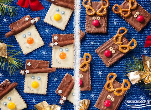 Świąteczne renifery i bałwany w czekoladzie