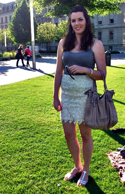 outfit with a sparkling lace skirt
