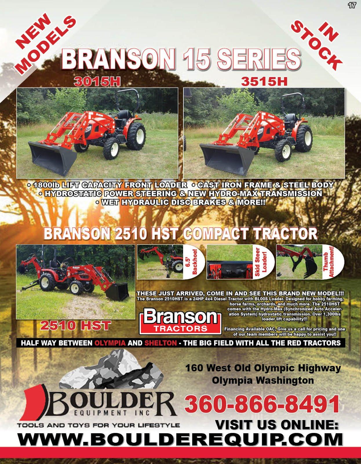 Boulder Equipment Branson Tractor Sale!!