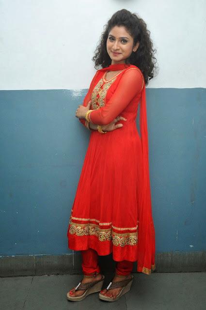 Vishnu Priya Stills in Red Salwar Kameez