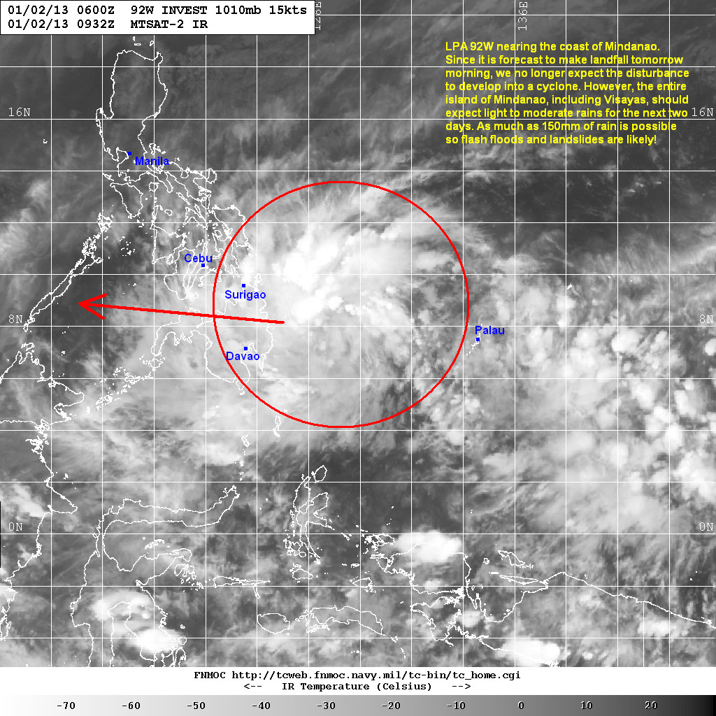 latest satellite image shows the clouds and convection associated with lpa 92w moving closer to mindanao in fact rains have already been reported in many