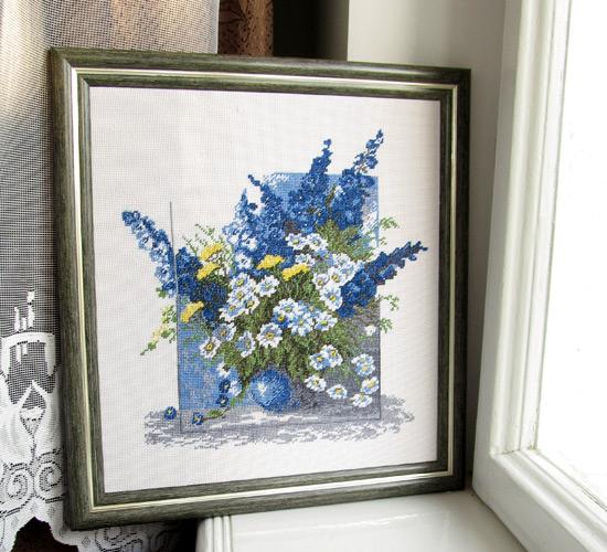 вышивка, Синие цветы, flowers