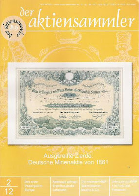 Front cover of scripophily magazine Der AktienSammler April 2012