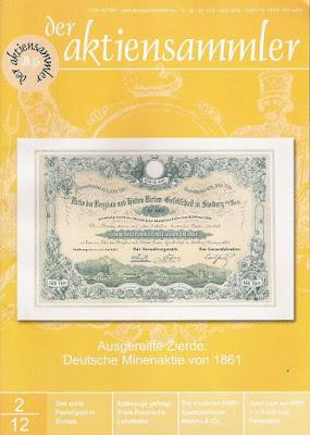 Front cover of scripophily magazine Der AktienSammler April 2012