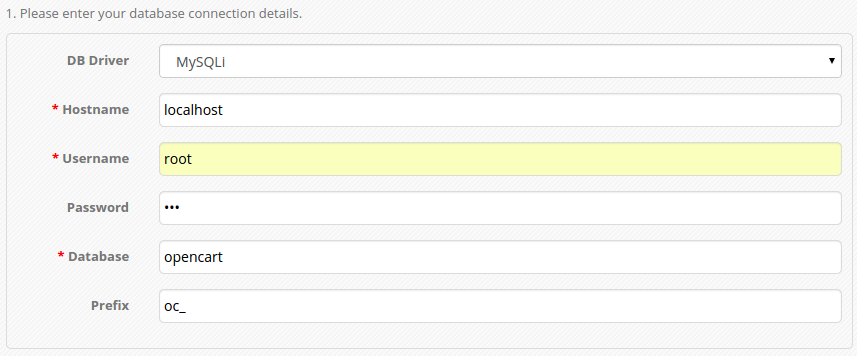 konfigurasi database opencart