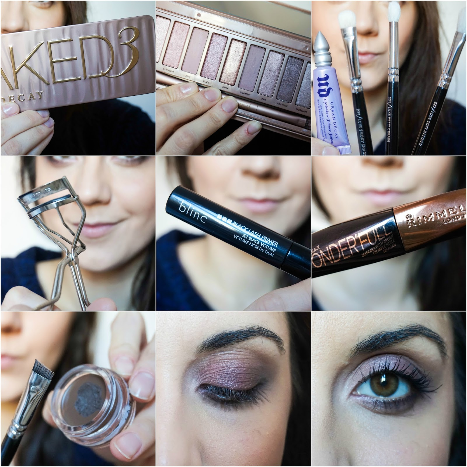 Naked 3, Urban Decay Eyeshadow Primer, Zoeva Eye Brushes, Shu Uemura Eyelash Curler, Blinc Black Lash Primer, Rimmel Wonder'full Extreme Black Mascara, Anastasia Beverly Hills DipBrow, Zoeva 322 Brow Line