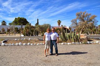 Liz and Anders outside Mission Catavina
