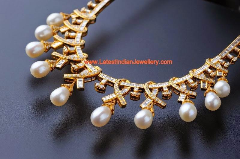 Pearl Drops Diamond Stylish Necklace
