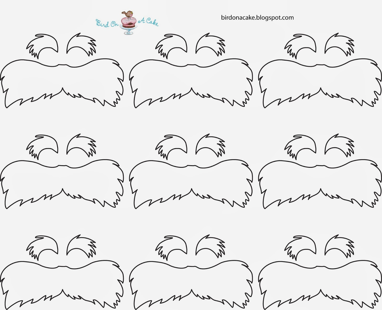Dynamite image in printable lorax mustache and eyebrows
