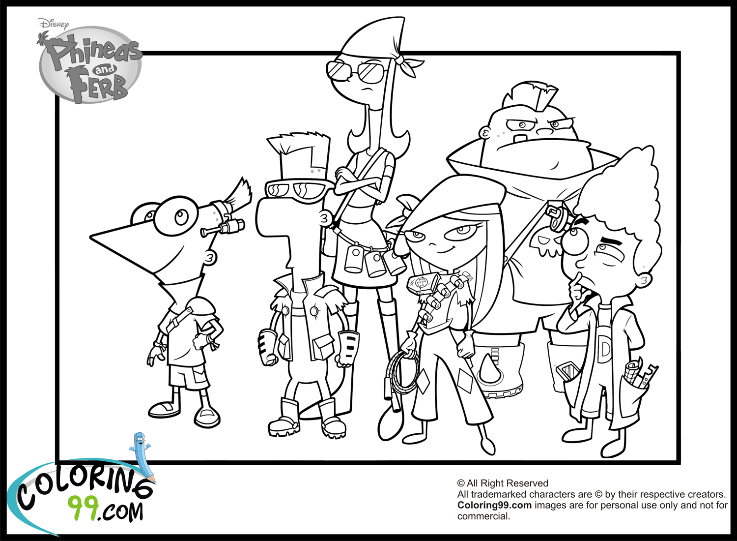 phineas and ferb characters coloring pages - Phineas And Ferb Colouring Pages