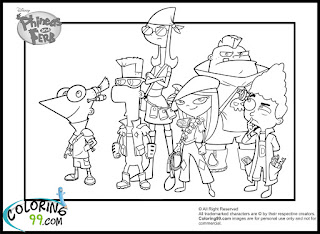 phineas and ferb characters coloring pages
