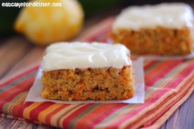 Eat Cake For Dinner: Carrot and Zucchini Bars with Lemon Cream Cheese ...