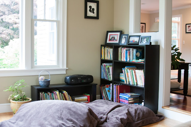 bookshelves and bean bags