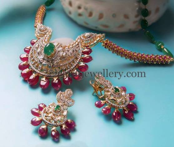 Ruby Beads Embellished Diamond Locket