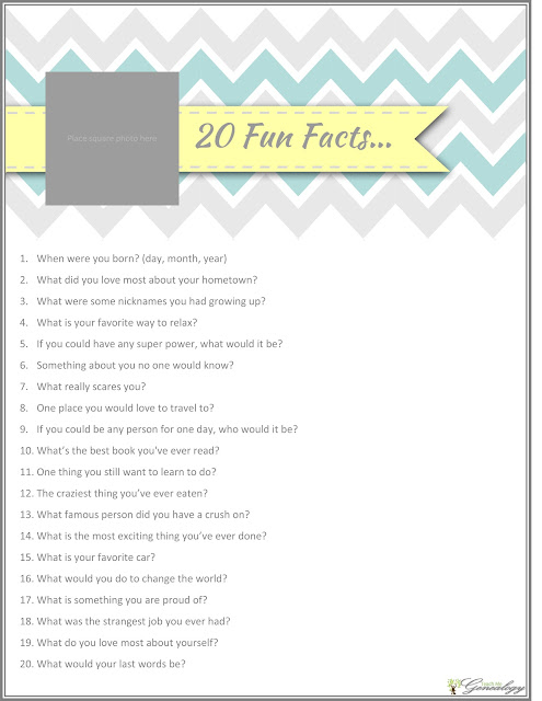Free Family History 20 Fun Questions to ask today! {Type & Print ...