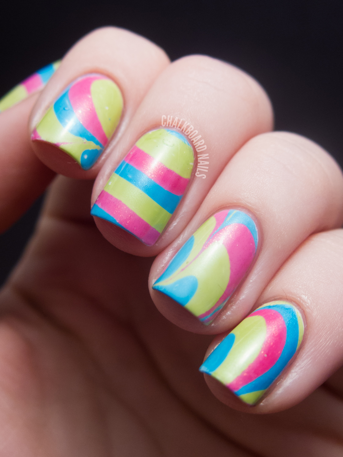 31DC2012: Day 20, Water Marble | Chalkboard Nails | Nail Art Blog