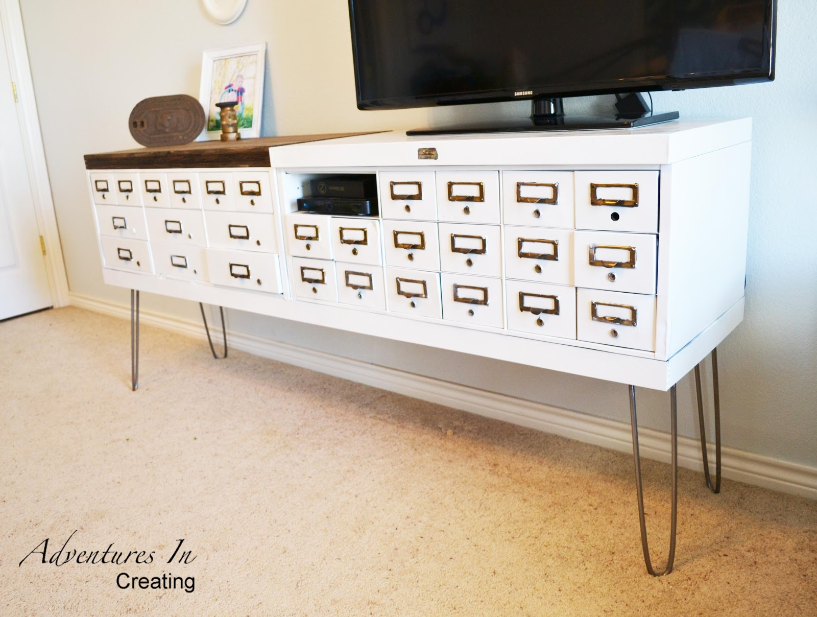 adventures in creating diy safe deposit box turned tv console. Black Bedroom Furniture Sets. Home Design Ideas