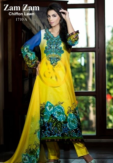DawoodLawnsCollection2014 wwwfashionhuntworldblogspotcom 09 - Dawood Textiles Zam Zam Chiffon Lawn Collection 2014