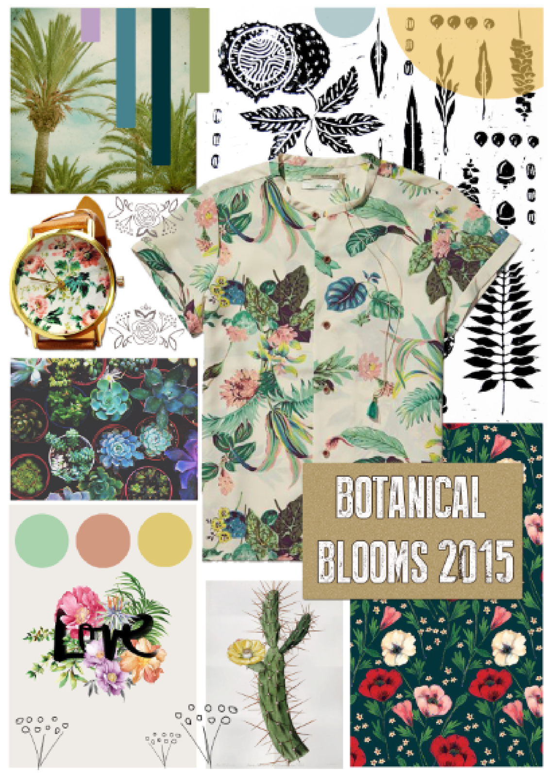 Ma Bicyclette: Design Spring-Summer 2015 | Botanical Blooms Trend Images from top to bottom, left to right - Cassia Beck / Victoria Clare Gray / FreeForMe /   Scotch & Soda / Justina Blakeney / Karen Hofstetter / TheBlackVinyl / Phoebe Wahl  Stylesheet by Stephanie Bertenshaw from Felt Mountain Studios for Ma Bicyclette