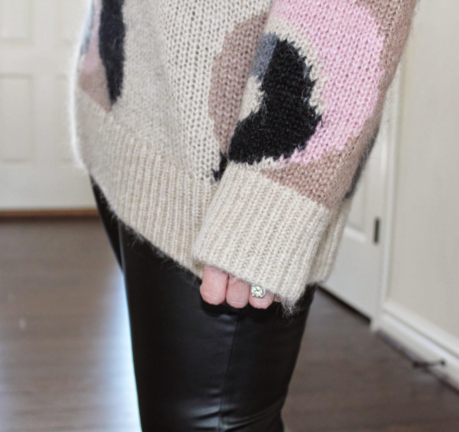 Black, Hue, Leather, Faux, Leggings, Oversized Sweater, Kate Spade, Prada, Saffiano,