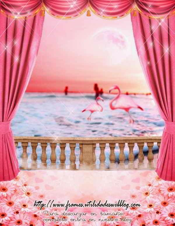 Fondos de ensueño para fotomontajes de 15 años de playa con flamingos, margaritas, cortinas y bruma
