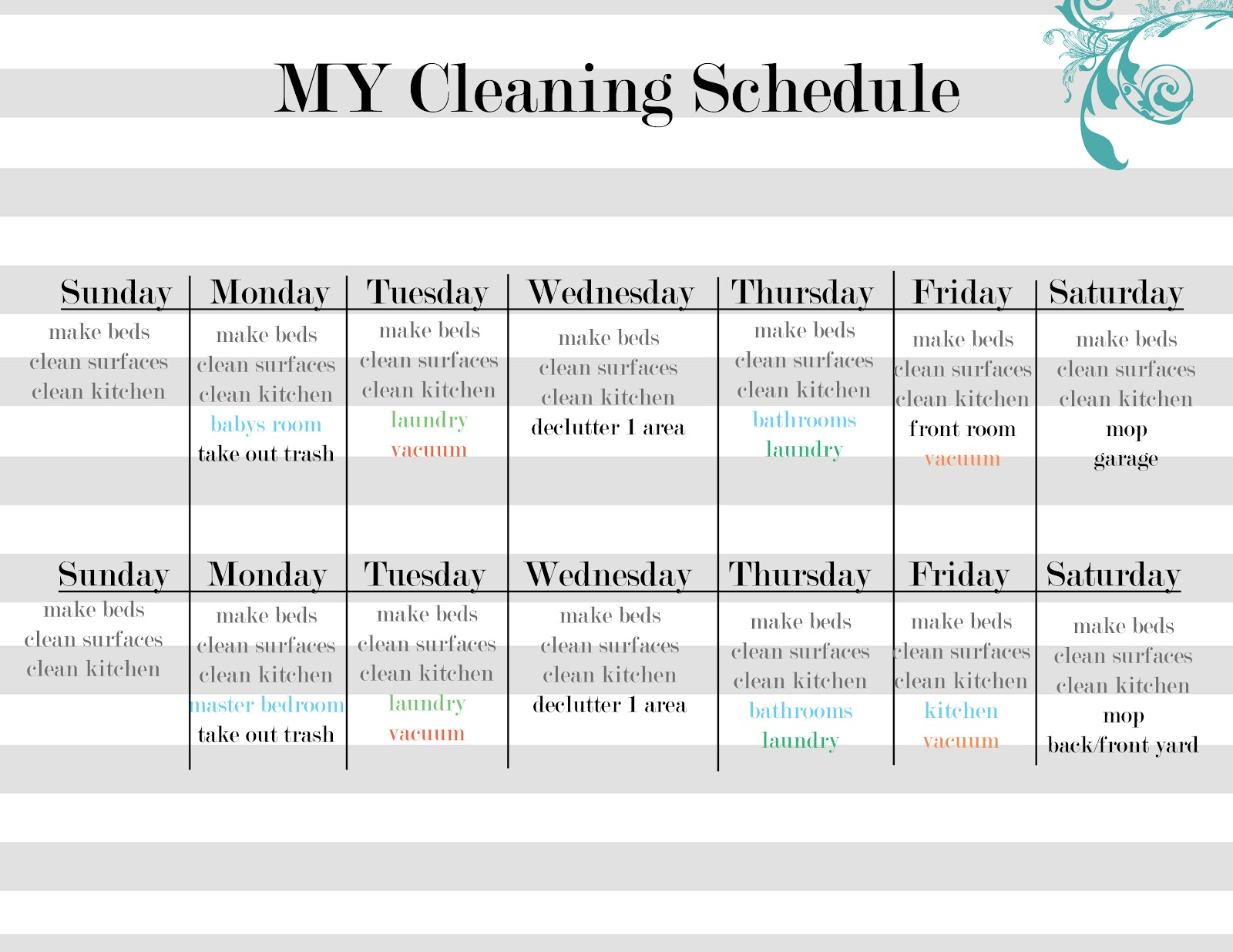 Daily Cleaning Schedule Template - Monday through friday schedule template