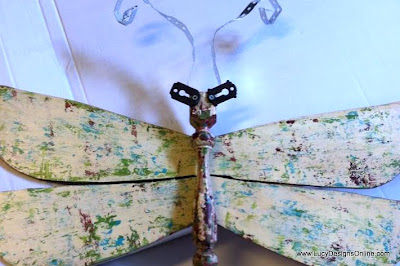 hand painted table leg dragonfly