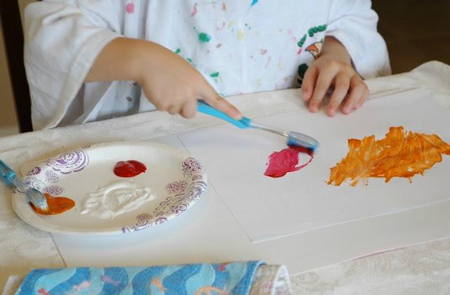 Dental Health Preschool Craft- Toothbrush Painting