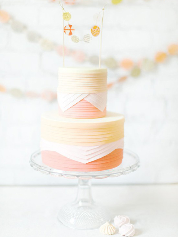 yellow + light coral baby shower cake
