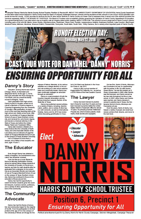 PAGE 17 - HOUSTON BUSINESS CONNECTIONS NEWSPAPER© RUNOFF ELECTION - PART 1 of 3