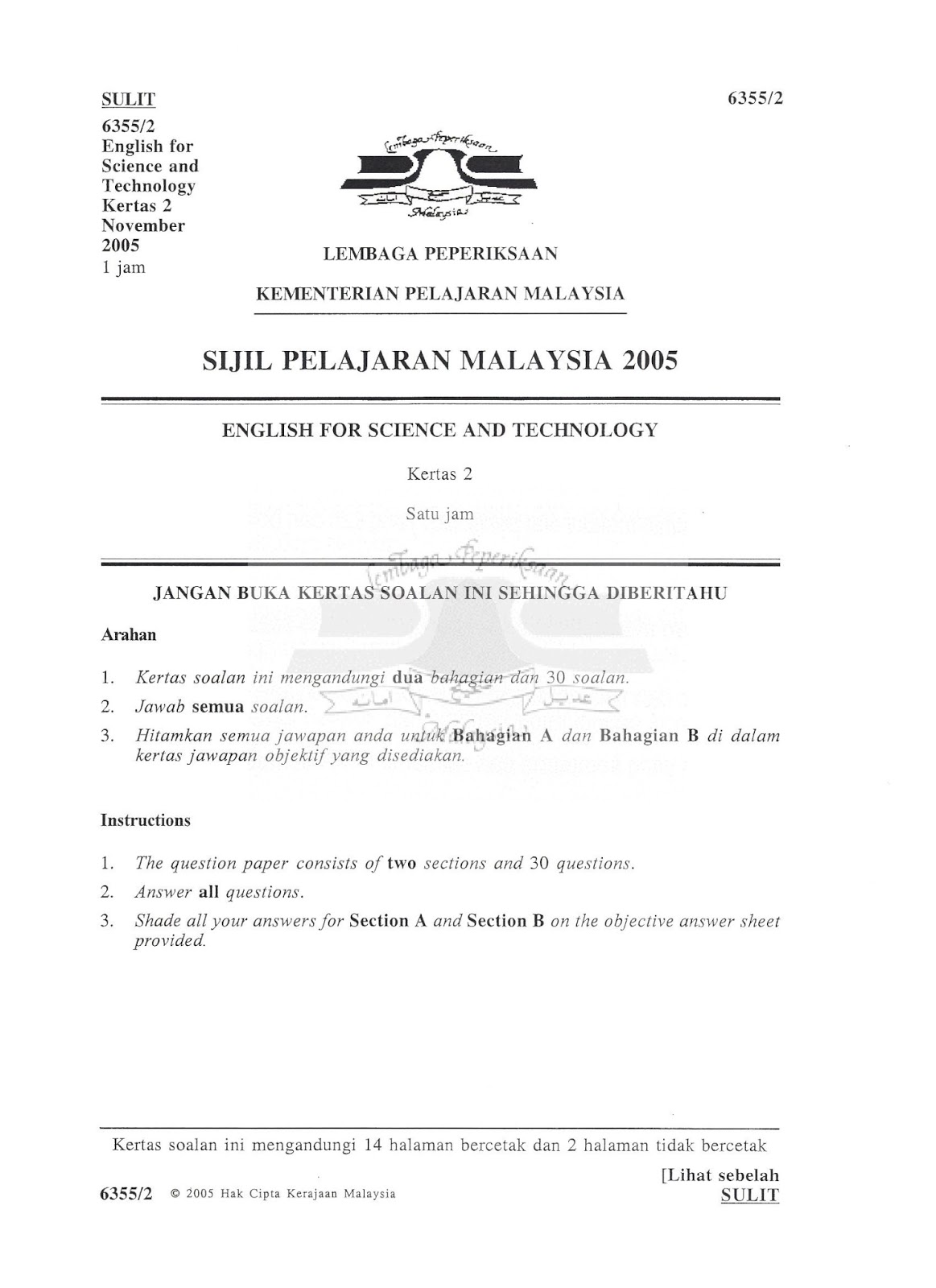 soalan lepas spm english for science and technology kertas