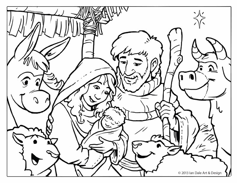 free christmas coloring page nativity scene by ian dale