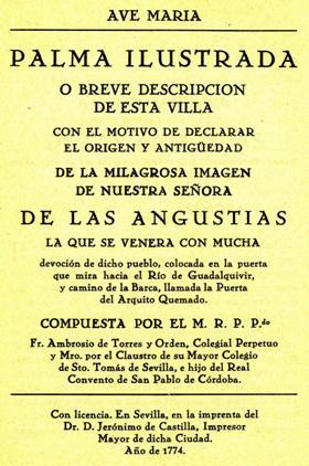 PALMA ILUSTRADA o BREVE DESCRIPCIÓN de esta VILLA... por FRAY AMBROSIO de TORRES y ORDEN.