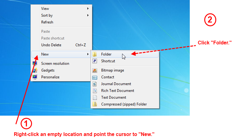 Windows 8 or 7: How to Create a New Folder