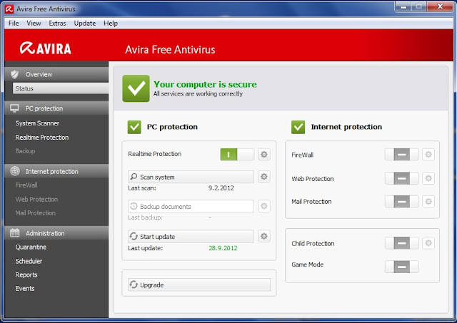Avira Free Antivirus 2013 - Interface