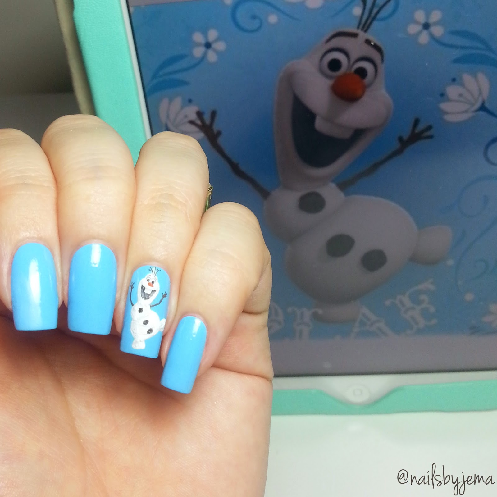 Nails by jema olaf frozen nail art this was so much fun to paint but my hand was shaking in some parts so bad i dont know how some of the nail art ladies do this detail work so prinsesfo Images