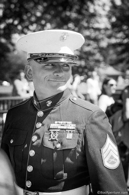 Saluting Marine at rolling Thunder 2013