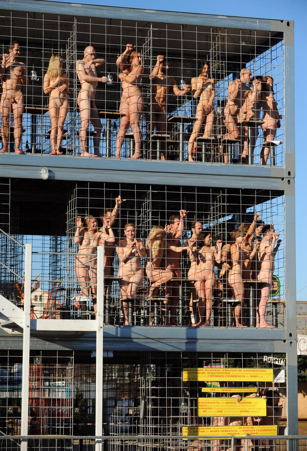 Naked cage Protest at 0 degrees