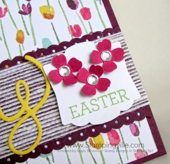 Punched flower detail on Artisan Label Punch. #cardmaking #papercrafts #stampinup #easter