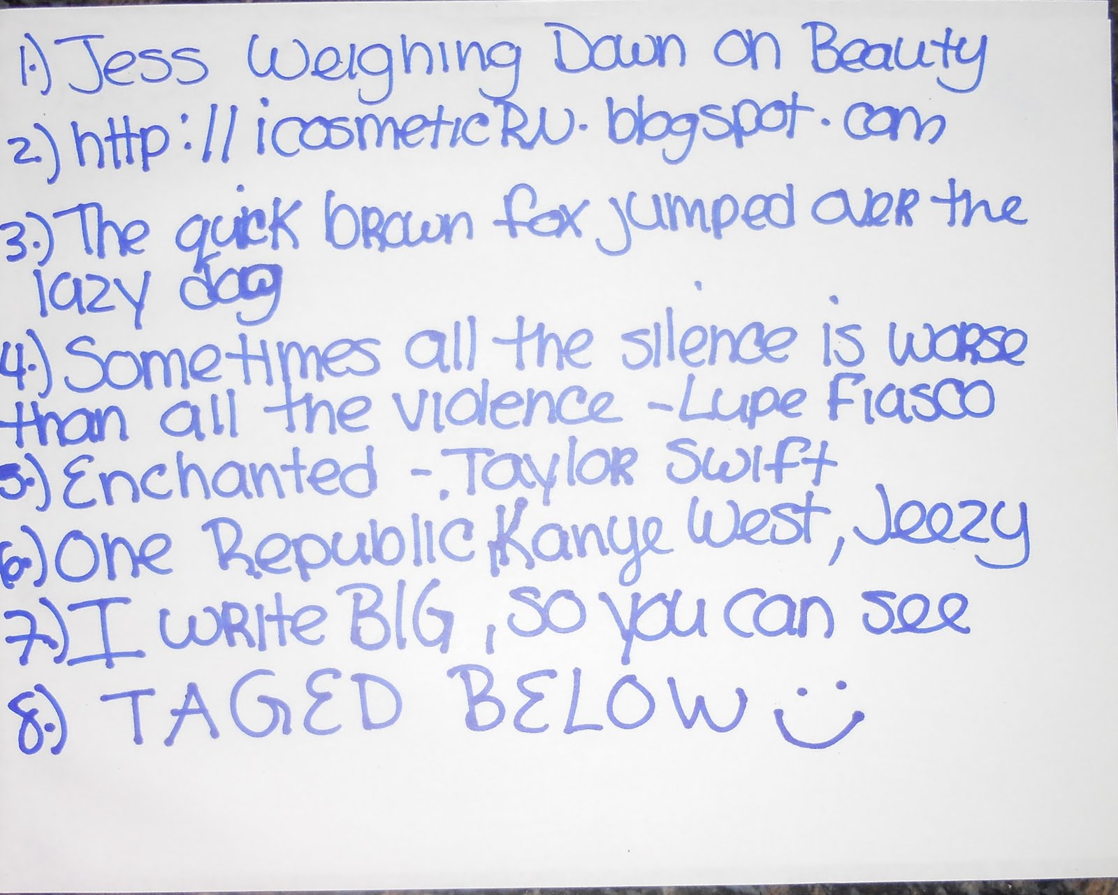 Handwriting TAG And Versitile Blogger Award THANK U Link Love D