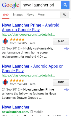 Interface Google Mobile Search